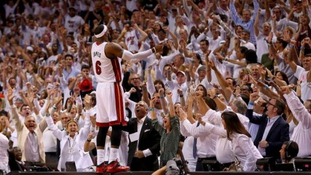 Fan favourite: LeBron James reacts after the final siren in Miami's game five win over Brooklyn in the second round of ...