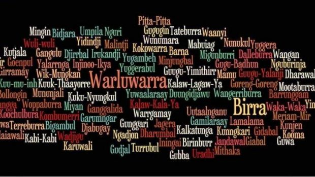 A word cloud showing the names of indigenous languages. Queenslanders are being enouraged to say g'day in an indigenous ...