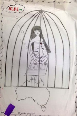 A drawing by a pregnant detainee on Christmas Island.