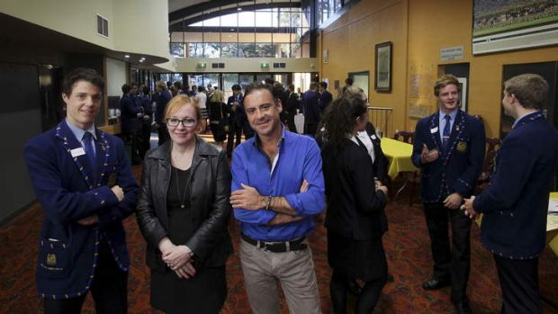 Change agent: Waverley College school captain Oscar Osborne with former Domestic Violence NSW CEO Tracy Howe and ...