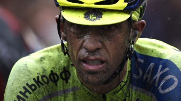 Race favourite Alberto Contador lost time in stage five.
