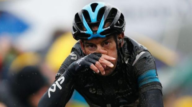 Mud soaked: Richie Porte finishes stage five in eighth place overall.