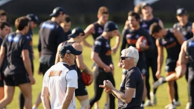 Mick Malthouse with fitness offsider David Buttifant.