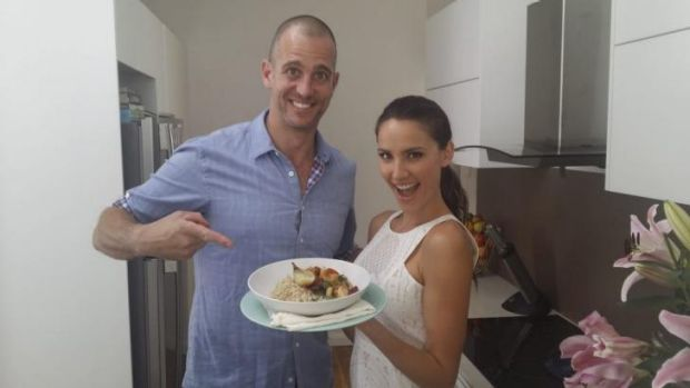 Mum's recipe: Chef Ed Halmagyi and Rachael Finch with her adaptation of her mother's apricot chicken.