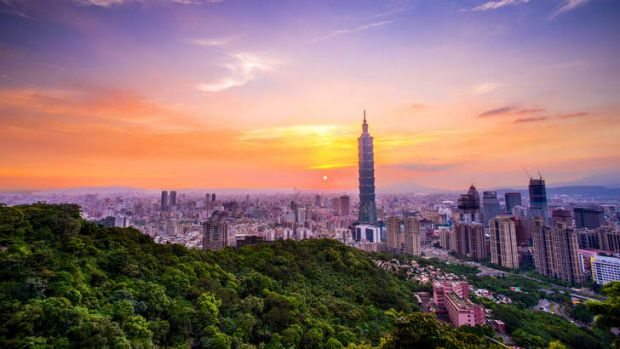City of intrigue: The Taipei skyline at sunset.