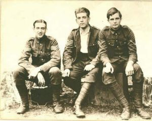 The three men closest to Brittain: (From left) her brother Edward, fiance Roland Leighton and friend Victor Richardson.
