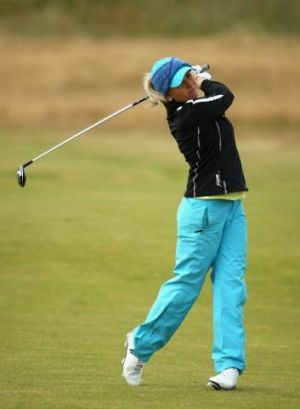 Sarah Kemp hits her 2nd shot on the 1st hole during the first round of the Women's British Open at Royal Birkdale.