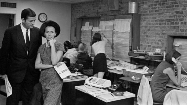 Jerry and Eileen Ford, founders of Ford Models, at their offices in New York, in 1966. Ms Ford died this week, aged 92.