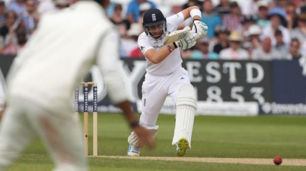 On the front foot: Joe Root scored well on a pitch that does not suit his game.