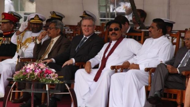 Immigration Minister Scott Morrison and Sri Lankan President Mahinda Rajapaksa at the ceremony.