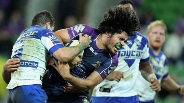 Contact: Storm forward Tohu Harris tries to barge through the Canterbury defence.