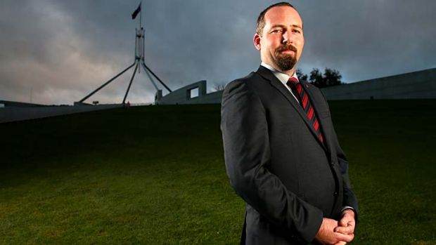 Alone together: Australian Motoring Enthusiast Party's Ricky Muir, at Parliament House for his first week as a senator.