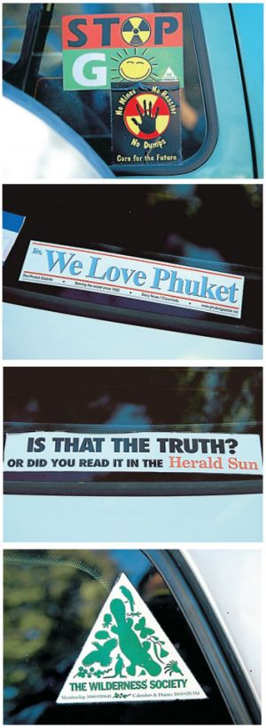 Windows on life: car stickers provide an insights into people's passions.