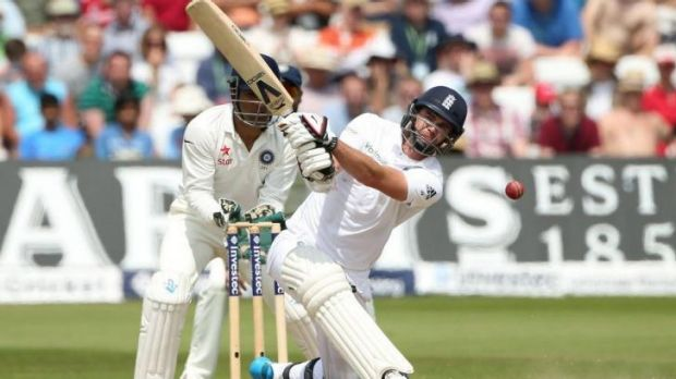 No bunny: England No.11 James Anderson attempts to hit out.