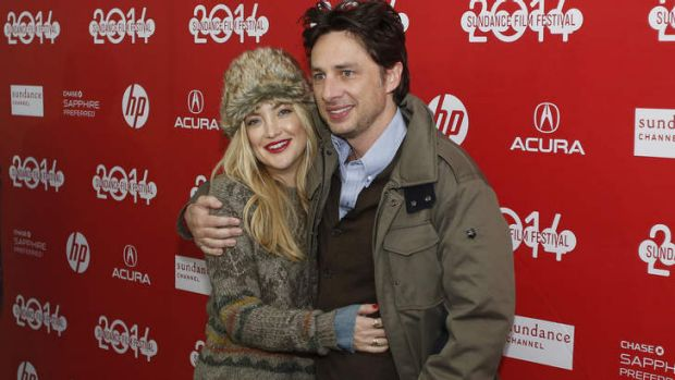 Zach Braff with <i>Wish I Was Here</i> co-star Kate Hudson, at the 2014 Sundance Film Festival.
