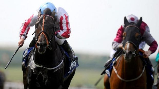 Wayne Lordan rides Slade Power to victory in the Darley July Cup at Newmarket on Saturday.