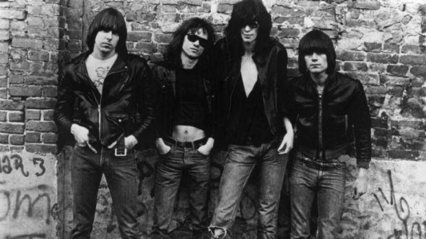 American punk rock group The Ramones. Left to right: Johnny Ramone (1948 - 2004) Tommy Ramone, Joey Ramone (1951 - 2001) ...