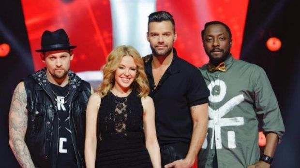 Even the coaches are getting emotional now ... from left, <i>The Voice's</i> Joel Madden, Kylie Minogue, Ricky Martin ...