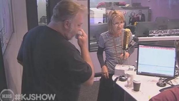 Sick .... Kyle Sandilands after vomiting on air during an interview.