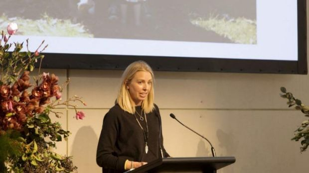 Hannah Richell speaks of her late husband, Matt Richell, at memorial held in his honour.
