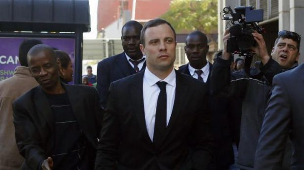 Oscar Pistorius leaves court in Pretoria.