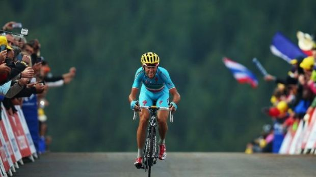 Vincenzo Nibali crosses the finish line to win stage ten of the 2014 Tour de France.