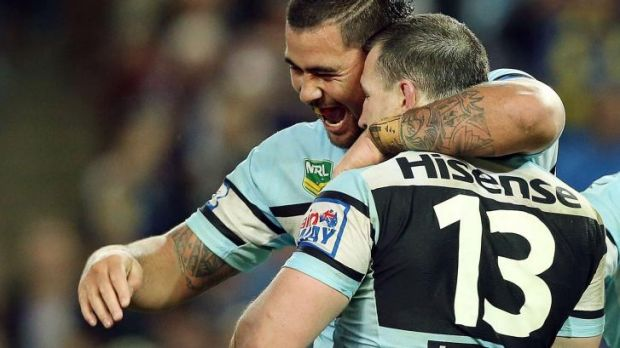 Seventh heaven: Andrew Fifita and Paul Gallen celebrate after winning last year's controversial elimination final.