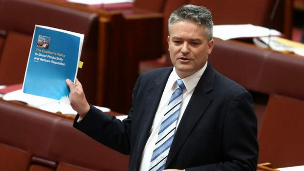 Finance Minister Senator Mathias Cormann tells the Senate of a deal with the Palmer United Party during the disallowance ...