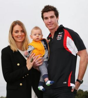 Lenny Hayes with wife Tara and son Hunter on Tuesday.