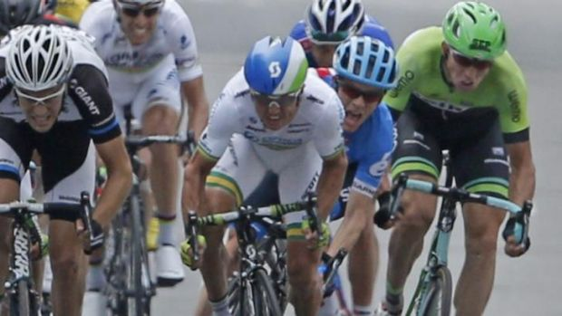 Staying put: SImon Gerrans, centre, has signed a new three-year deal with Orica-GreenEdge