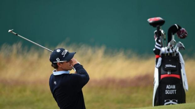 Open season: Adam Scott checks out the lay of the land at Royal Liverpool ahead of this week's British Open.