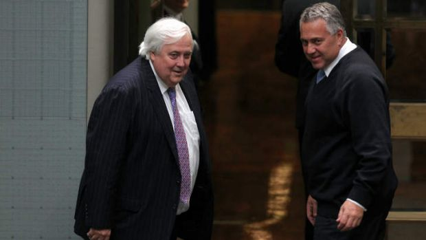 Palmer United Party leader Clive Palmer and Treasurer Joe Hockey. Mr Hockey has threatened to bypass MPs to get ...