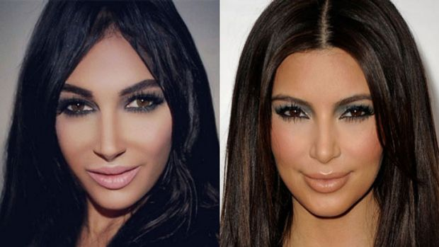 Can the real Kim please stand up: 24-year-old Kim Kardashian-wannabe Claire Leeson alongside her idol.
