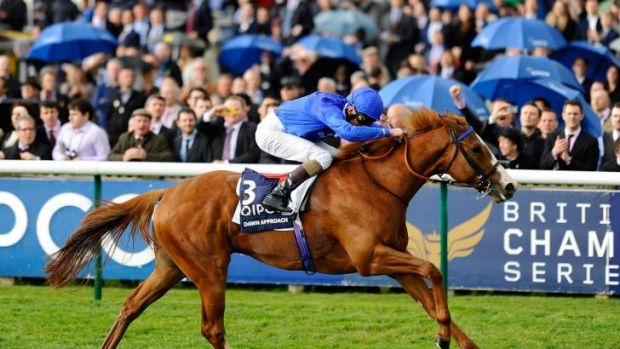 True colours: Kevin Manning, coated in the famous Godolphin blue, pilots Dawn Approach to the 2000 Guineas Stakes at ...