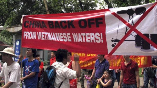 Vietnamese protest outside the Chinese Embassy in Hanoi in May.