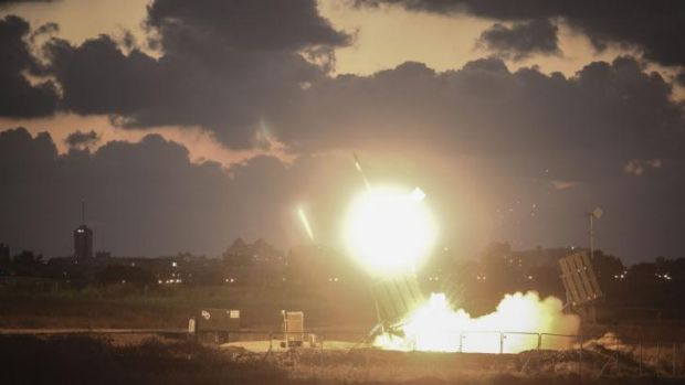 The Iron Dome air-defense system fires to intercept a rocket in Israel.