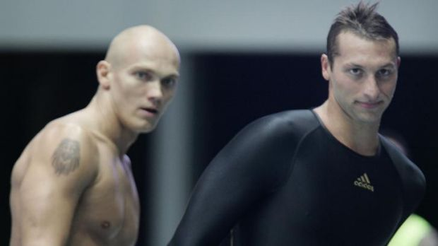 Michael Klim and Ian Thorpe after the Commonwealth Games swimming trials of 2006.