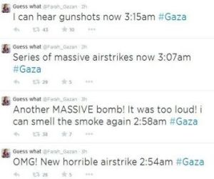 Tweets from a resident of Gaza.