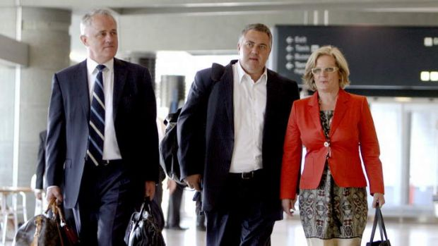 Baggage: With Malcolm and Lucy Turnbull on the day of the spill.
