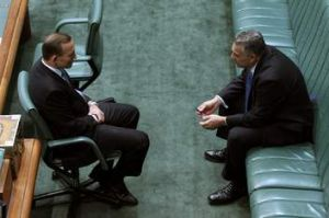 Always the bridesmaid?: Hockey with the man who defeated him, Tony Abbott, now prime minister, in May this year.