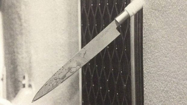 """It was so sharp"": The bloodstained knife on which it is claimed Jenny Lee Cook impaled herself."