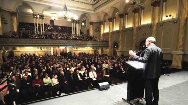 Professor Ross Garnaut delivers his climate change message to a packed house at the Adelaide Town Hall.