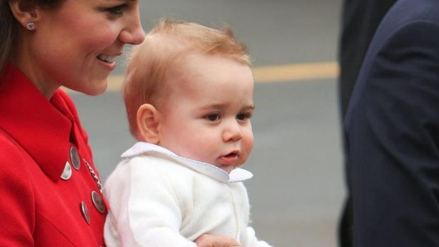A windswept Prince George arrives in Wellington.