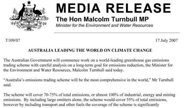 Media release from the then environment minister, Malcolm Turnbull, on July 27, 2007.