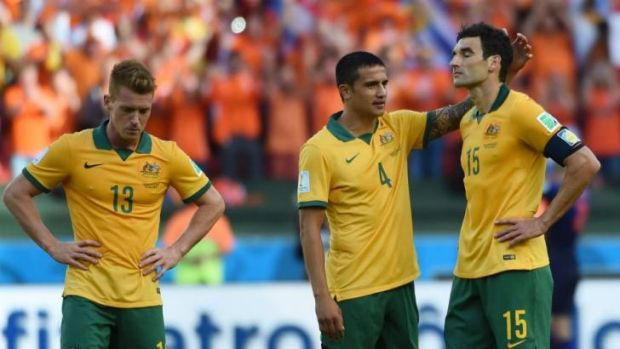 Slipping: The Socceroos have plummeted in the rankings after losing their three games at the World Cup.