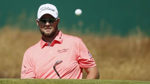 Eyes on the ball: Marc Leishman during his opening round at the British Open.