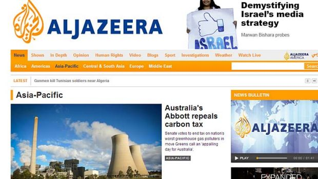 Al Jazeera Asia-Pacific's lead story was the repeal of the carbon tax.