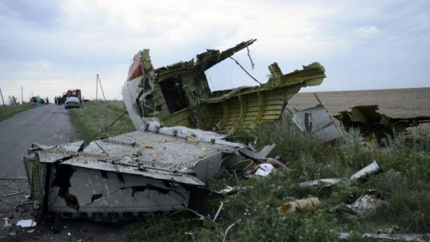 Wreckage of MH17 near the Ukrainian town of Shaktarsk.
