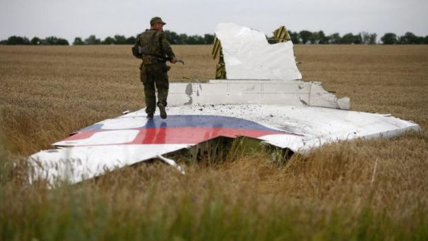 An armed pro-Russian separatist stands on part of the wreckage of the Malaysia Airlines plane near Grabovo.