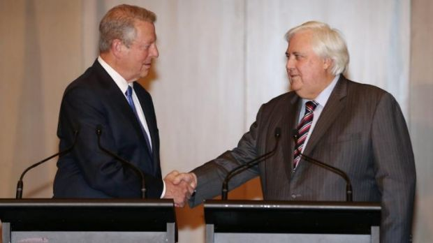 Gore and Palmer in Canberra last month.